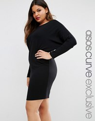 Asos Curve T Shirt Dress With Batwing Sleeve Black