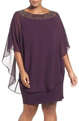 Xscape Evenings Plus Size Women's Embellished Chiffon Overlay Jersey Sheath Dress Plum Gunmetal