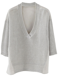 Poetry Knitted Woven Top Ice Grey