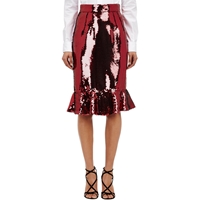 Dolce And Gabbana Sequin Trumpet Skirt Red