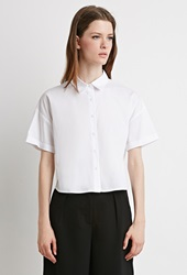 Forever 21 Boxy Cotton Blend Shirt White
