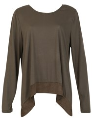 Izabel London Lace Up Back Detail Top Khaki