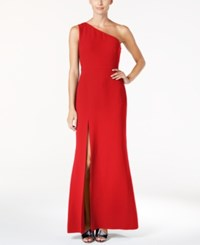 Calvin Klein One Shoulder A Line Gown Red