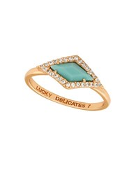 Lucky Brand Cubic Zirconia And Reconstituted Calcite Rose Goldtone Ring