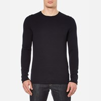 Hugo Men's Shevro Crew Neck Knitted Jumper Navy Blue