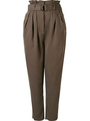 Andrea Marques Pleated High Waisted Trousers Grey