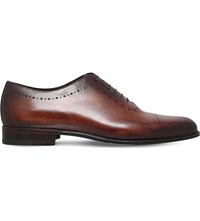 Stemar Perforated Leather Oxford Shoes Tan