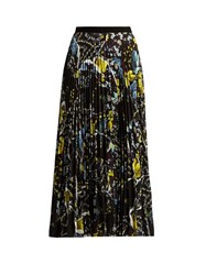 Erdem Nesrine Pleated Crepe Midi Skirt Black Multi