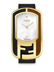 Fendi Chameleon Diamond Mother Of Pearl Goldtone Stainless Steel And Leather Strap Watch Black Gold Multi