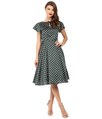 Unique Vintage Formosa Flutter Sleeve Dress Emerald Dots Women's Dress Green