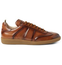 Officine Creative Germain Polished Leather Sneakers Brown