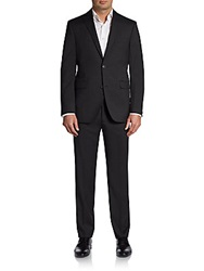Saks Fifth Avenue Red Trim Fit Wool Two Button Suit Charcoal