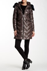 Vince Camuto Faux Fur Collar Mid Length Down Jacket Brown