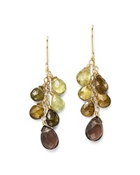 Bloomingdale's Green Garnet And Smoky Quartz Drop Earrings In 14K Yellow Gold Green Brown