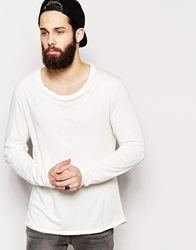 Asos Longline Long Sleeve T Shirt With Stretch Neck Offwhite