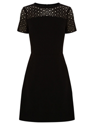 Oasis Lace Patched Dress Black