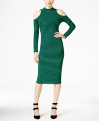 Xoxo Juniors' Striped Cold Shoulder Bodycon Dress Green Black