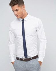 Asos Skinny Shirt In White With Navy Polka Dot Tie Pack White