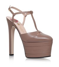 Gucci Angel T Bar Platform Heels 160 Female Taupe