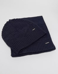 Hugo Boss Green By Scarf And Beanie Gift Set Navy