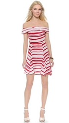 Wayf Off Shoulder Dress Red White Stripe