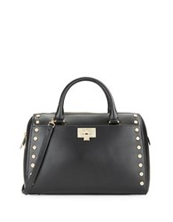 Karl Lagerfeld Studded Leather Satchel Black Gold