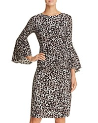 Tracy Reese Flounce Sleeve Animal Print Dress Carcoal Animal
