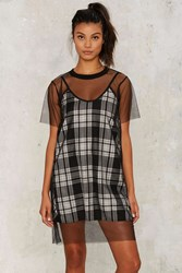 The Ragged Priest Slip 'Em The Mesh Plaid Dress Black