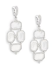 Judith Ripka Vogue Diamond Mother Of Pearl Doublet And Sterling Silver Chandelier Earrings