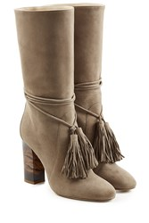 Burberry Shoes And Accessories Suede Boots With Tassels Brown