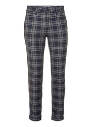 Topman Navy And Grey Check Stretch Slim Trousers Blue