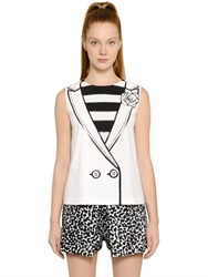Boutique Moschino Vest With Flower Printed Techno Cady Top