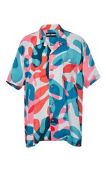 Double Rainbouu Coral Leaf Short Sleeve Hawaiian Shirt Print