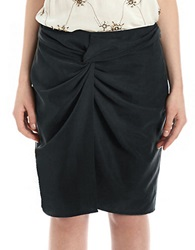 424 Fifth Sand Washed Twill Sarong Skirt Black