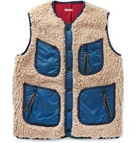Kapital Shell Trimmed Faux Shearling Vest Cream