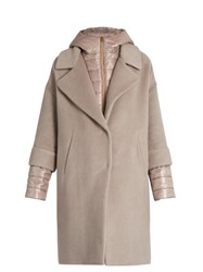 Herno Soft Brush Showerproof Wool Blend Coat Light Pink