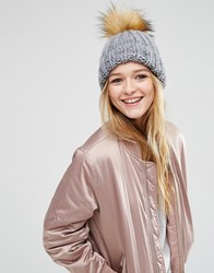 Asos Chunky Knit Beanie With Faux Fur Pom Grey
