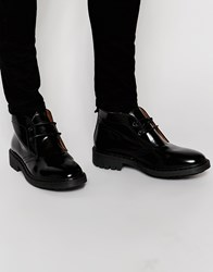 Asos Chukka Boots In Black Leather With Heavy Cleated Sole
