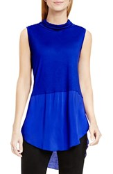 Vince Camuto Women's Two By Sleeveless Mixed Media Cowl Neck Tunic Optic Blue