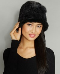The Fur Vault Knitted Mink Rosette Hat Black