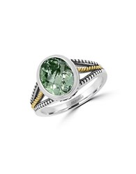 Effy 925 Sterling Silver 18K Yellow Gold And Green Amethyst Ring