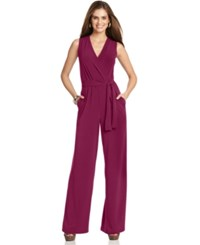 Ny Collection Petite Surplice Belted Wide Leg Jumpsuit Purple Potion
