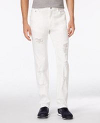 Armani Exchange Men's Straight Fit White Destroyed Jeans Solid Whit