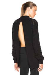 Thierry Mugler Mugler Cable Knit Open Back Sweater In Black