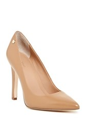 Calvin Klein Brady Leather Pointed Toe Pump Wide Width Available Brown