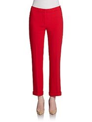 Pink Tartan Cropped Cuffed Pants Red