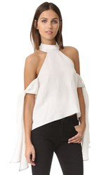 Shakuhachi Contrast Stitching Tie Sleeve Top White