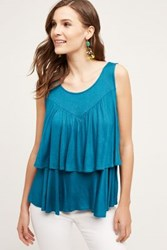 Anthropologie Double Ruffle Tank Turquoise