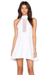 Kendall Kylie Mesh Inset Halter Dress White
