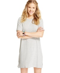 One Clothing Juniors' Chest Pocket T Shirt Dress Heather Grey Ivory